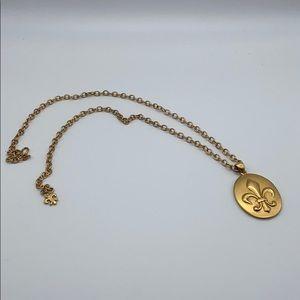 ABC gold plated necklace with fleur de lys